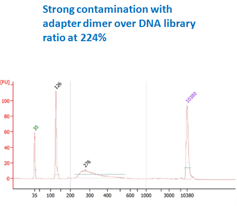 strong contamination DNA library before purification (adapter dimer ratio 224%)